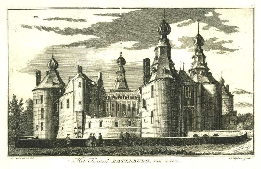 Ru�ne Batenburg in Batenburg. Tekening Abraham de Haen, gravure Hendrik Spilman